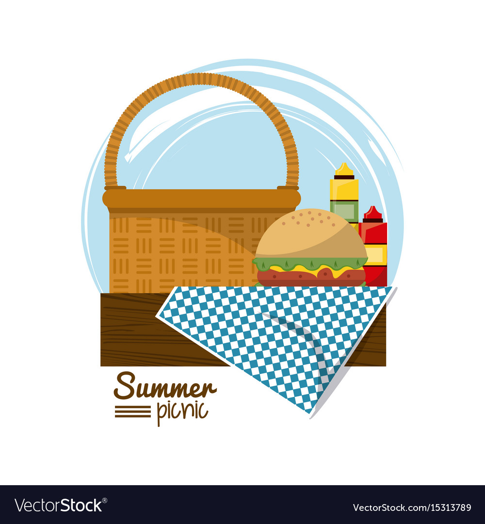 Colorful logo summer picnic with picnic basket on.