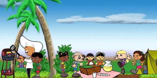 fun picnic scene with cartoon characters.