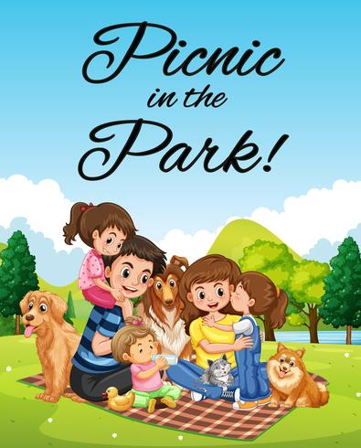 Poster design with family picnic in the park.