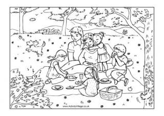 Kids picnic clipart outline.