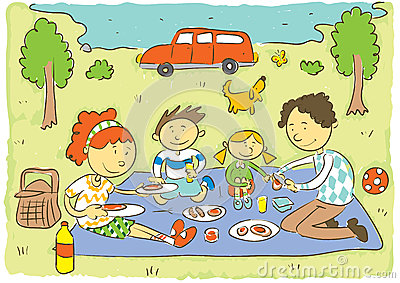 Family Picnic Park Stock Illustrations.
