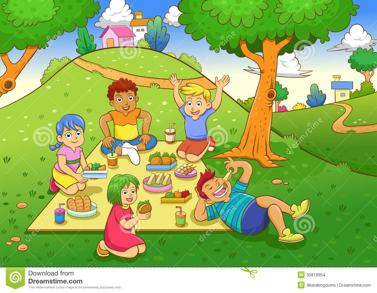 Family Picnic Stock Illustrations.