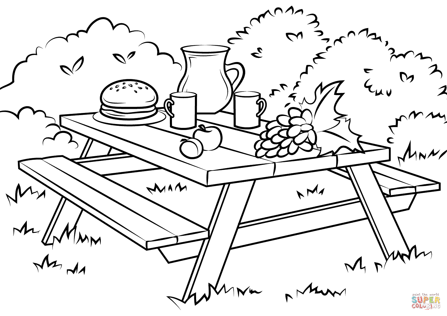 Picnic table clipart black and white clipground picnic table coloring page biocorpaavc