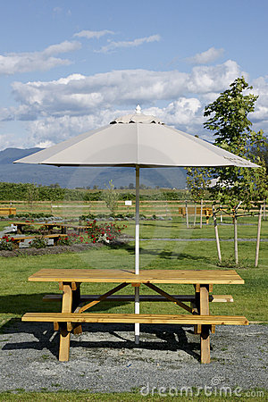 Picnic Table Umbrella Royalty Free Stock Photo.
