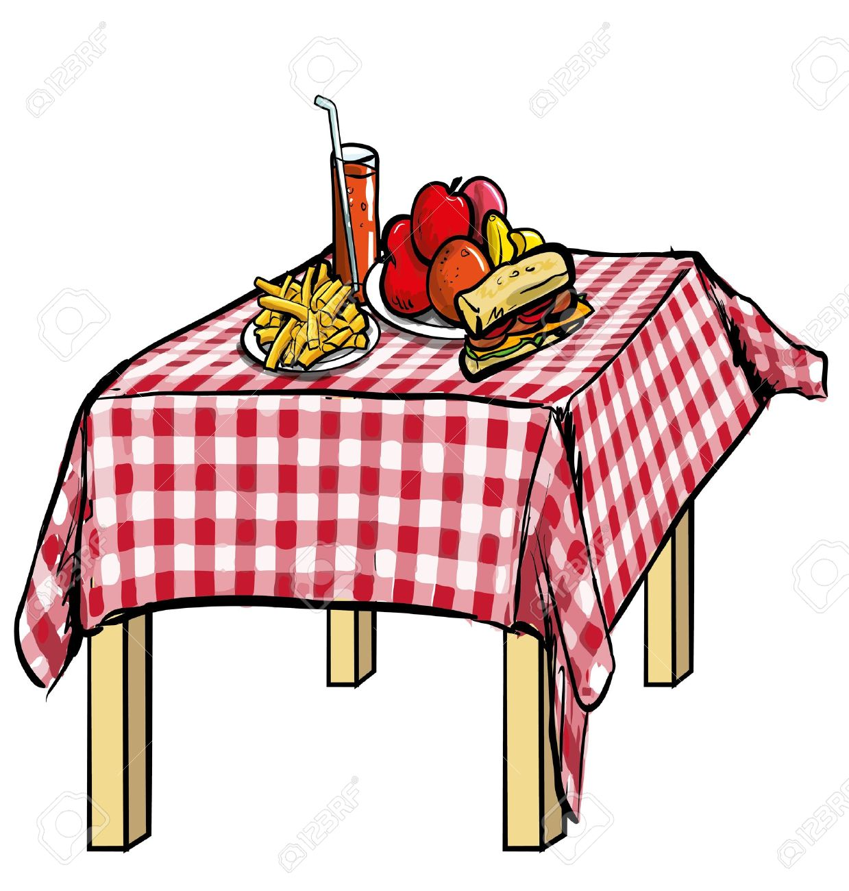 Table With Food Clipart.