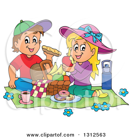Clipart of a Cartoon White Boy and Girl Eating at a Picnic.