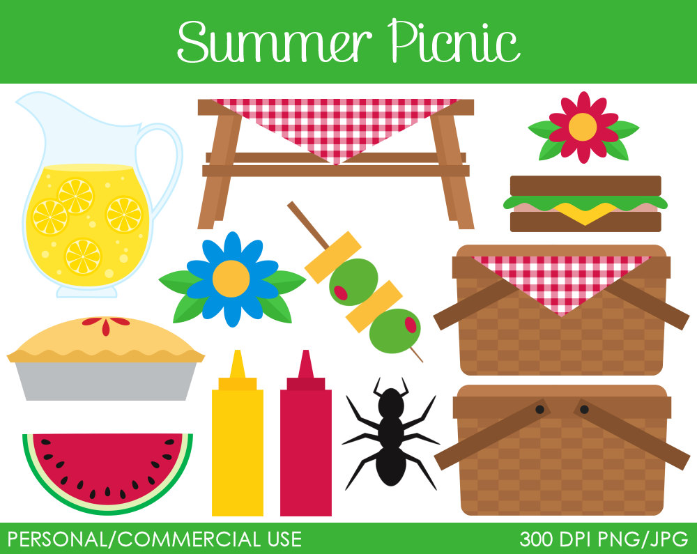 Summer picnic clipart free.