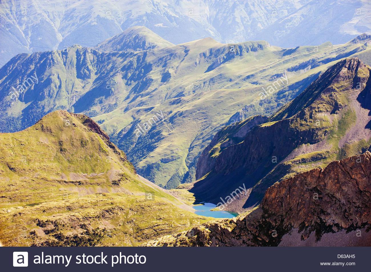 Mountain Lake, View From Pico De Aneto (3404m), The Highest Peak.