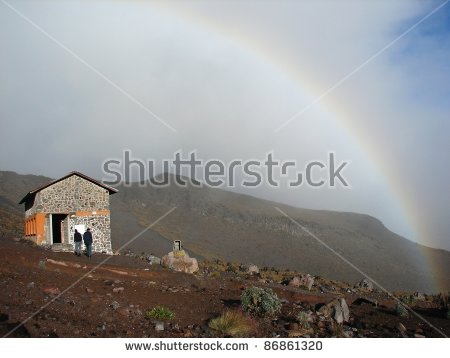 Rainbow By Shelter Piedra Grande (From Ascent To Volcano Pico De.