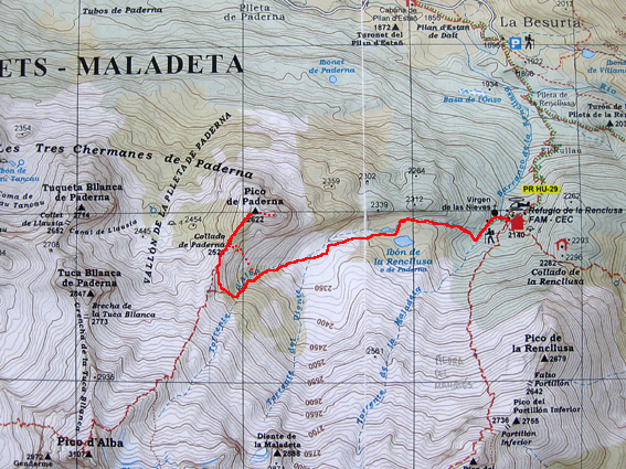 Sketch over the Alpina map for Pico de Paderna : Photos, Diagrams.