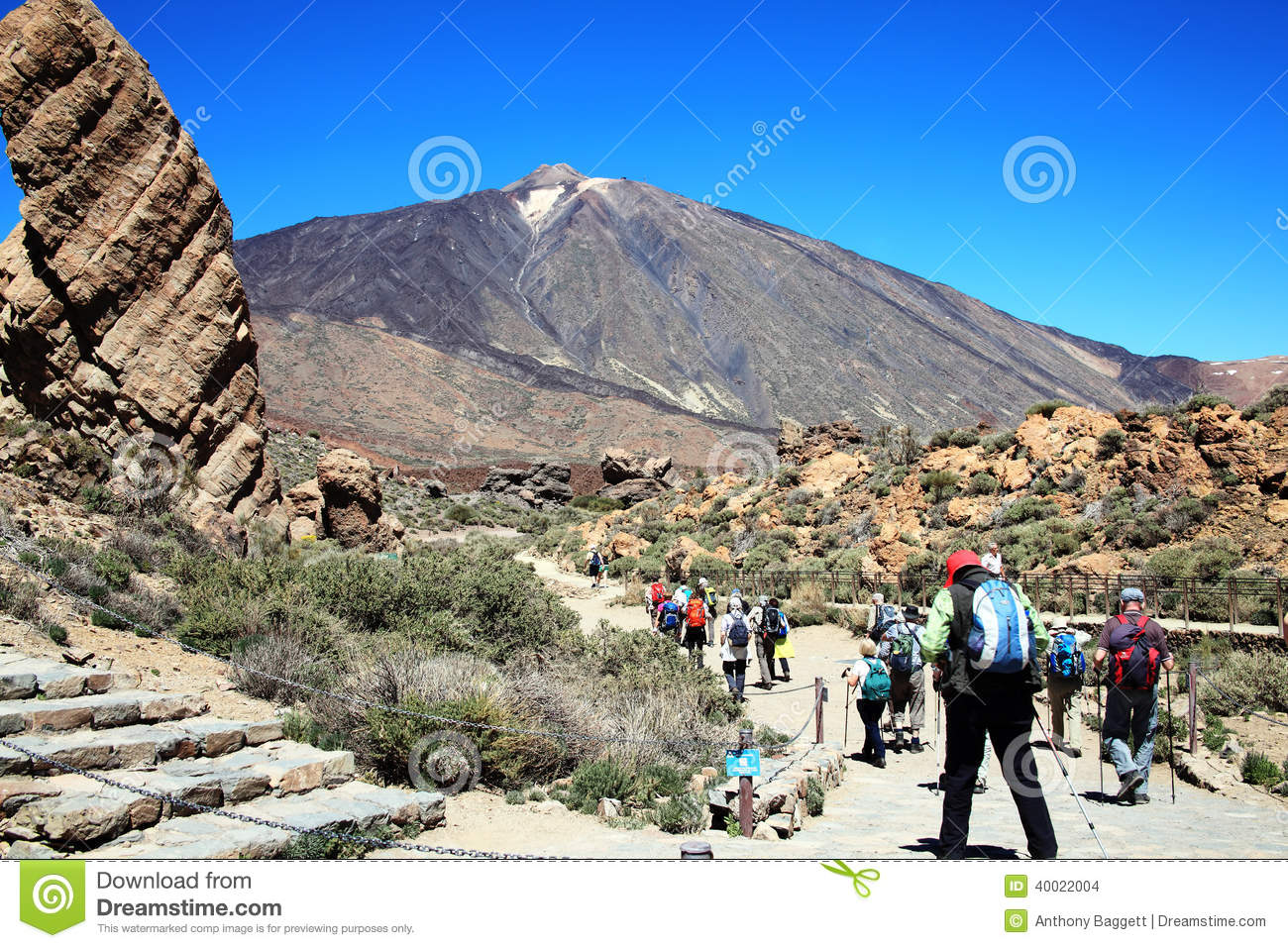Ramblers Hiking At Pico De Teide Editorial Stock Image.