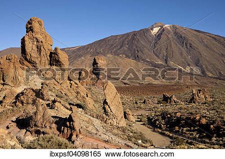Stock Image of Roques de Garcia rock formation and Pico del Teide.