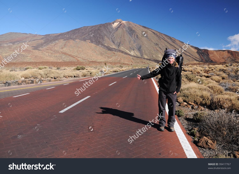 Hitchhiking Woman Pico Del Teide Teide Stock Photo 99417767.