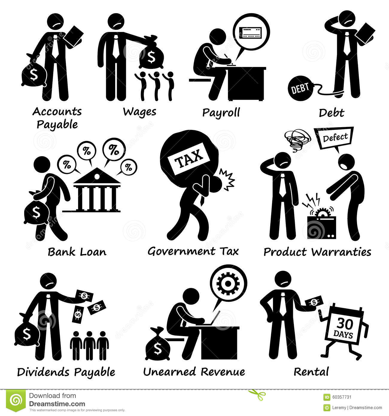 Company Business Assets Pictogram Clipart Stock Vector.