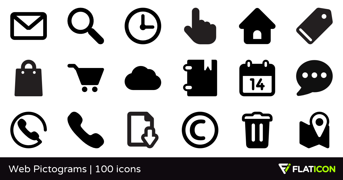 Web Pictograms 100 free icons (SVG, EPS, PSD, PNG files).