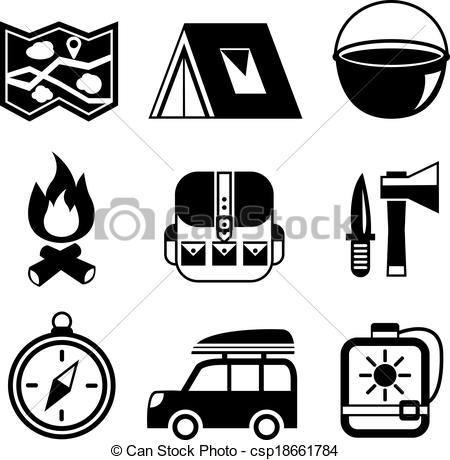 Clip Art Vector of Outdoors tourism camping pictograms collection.
