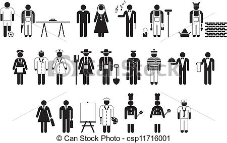 Vector Clipart of Wokers pictograms.
