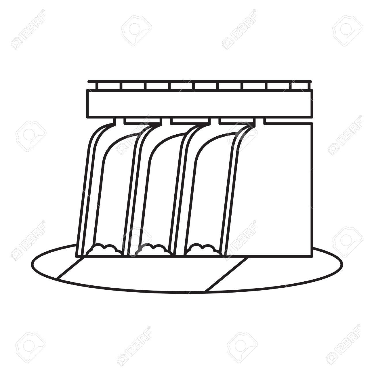 Hydroelectric station plant water dam pictograph » Clipart.