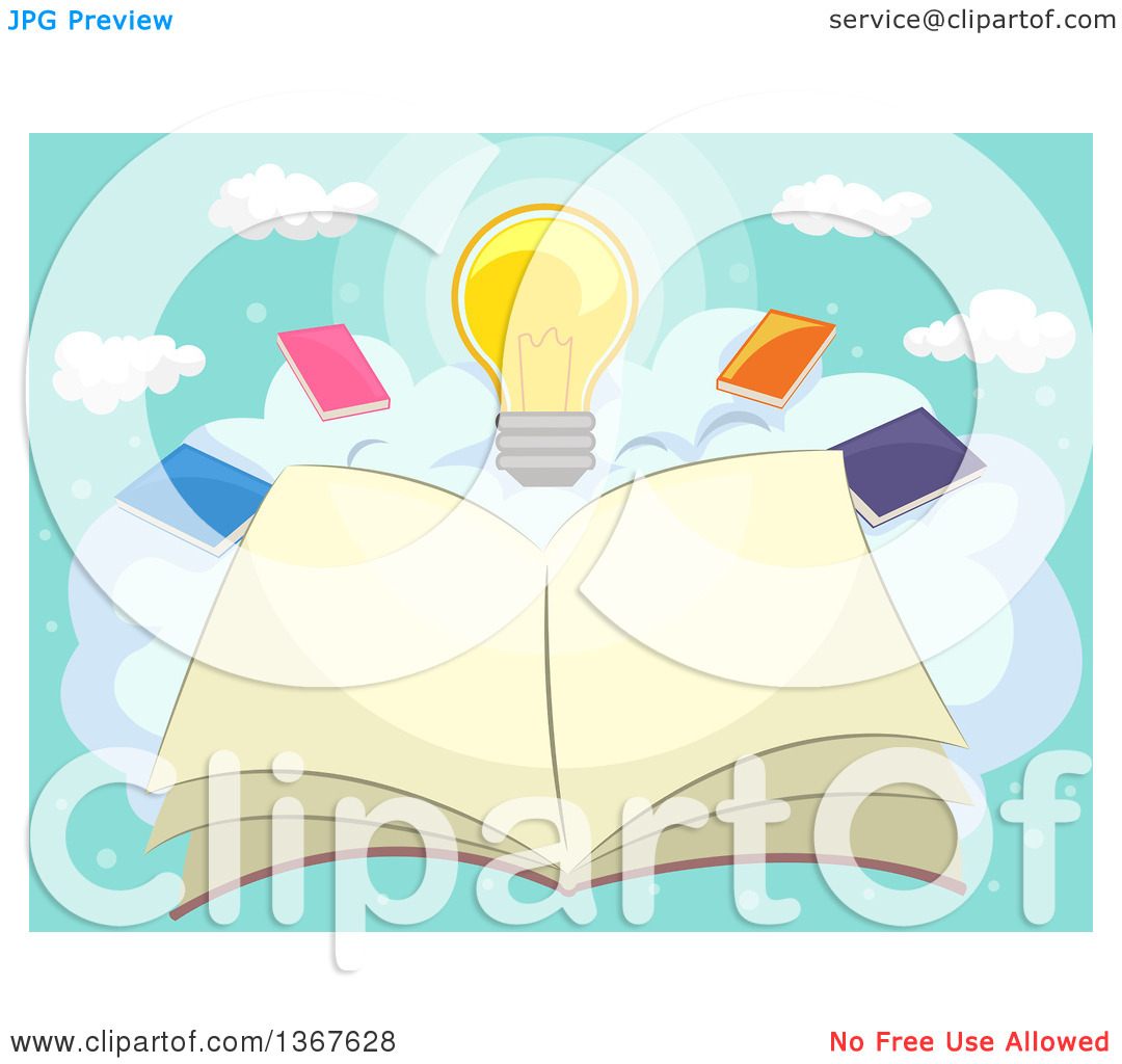 Clipart of a Sketched Open Book on a Cloud with Other Books and a.