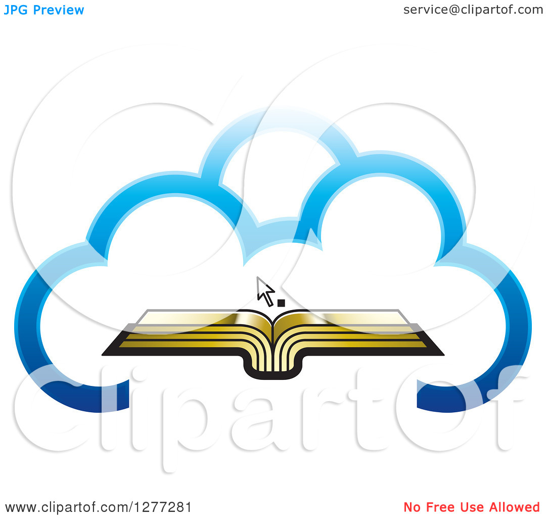 Clipart of a Cursor over an Open Gold Book in a Blue Cloud.