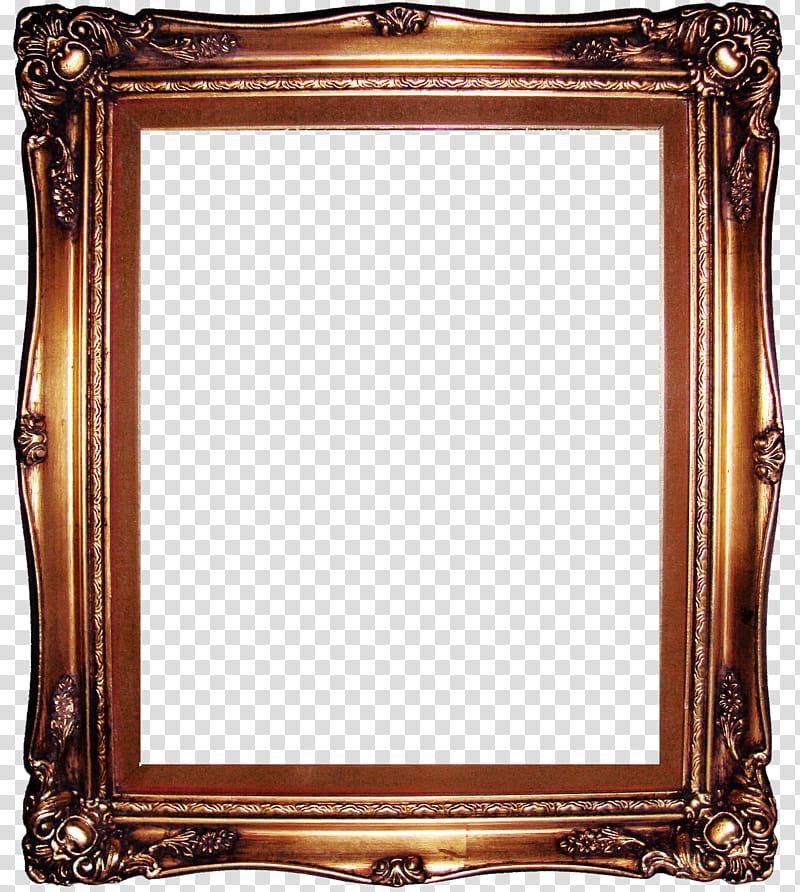 Brown artwork frame transparent background PNG clipart.
