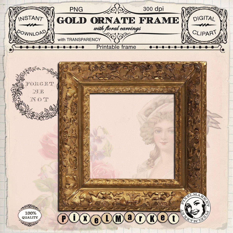 Gold FRAME CLIPART Printable ornate photo frame w.