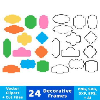 24 Decorative Frames Clipart, Outline Frames, Filled Frames, Borders, Labels.