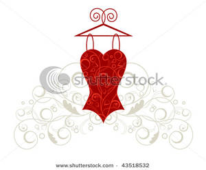 Red Corset Hanging on a Swirling Hanger Clipart Picture.