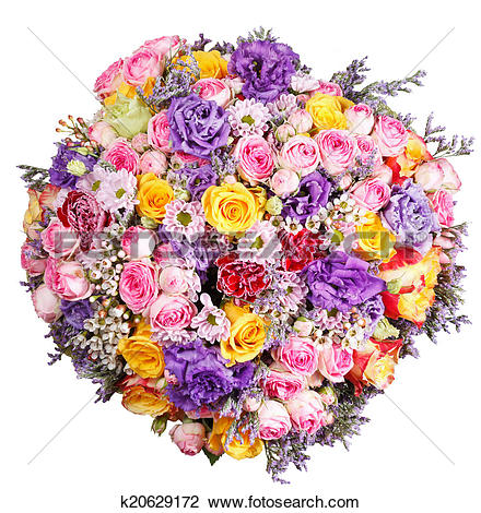 Stock Photo of top view of big bunch of flowers isolated k20629172.