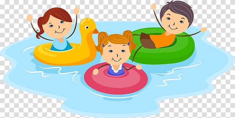 Three children on floater illustration, Swimming pool , Pool.