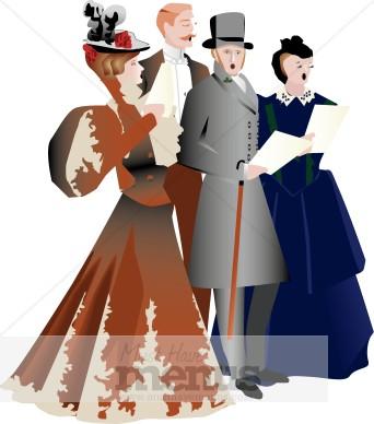 Victorian Carolers Clipart.