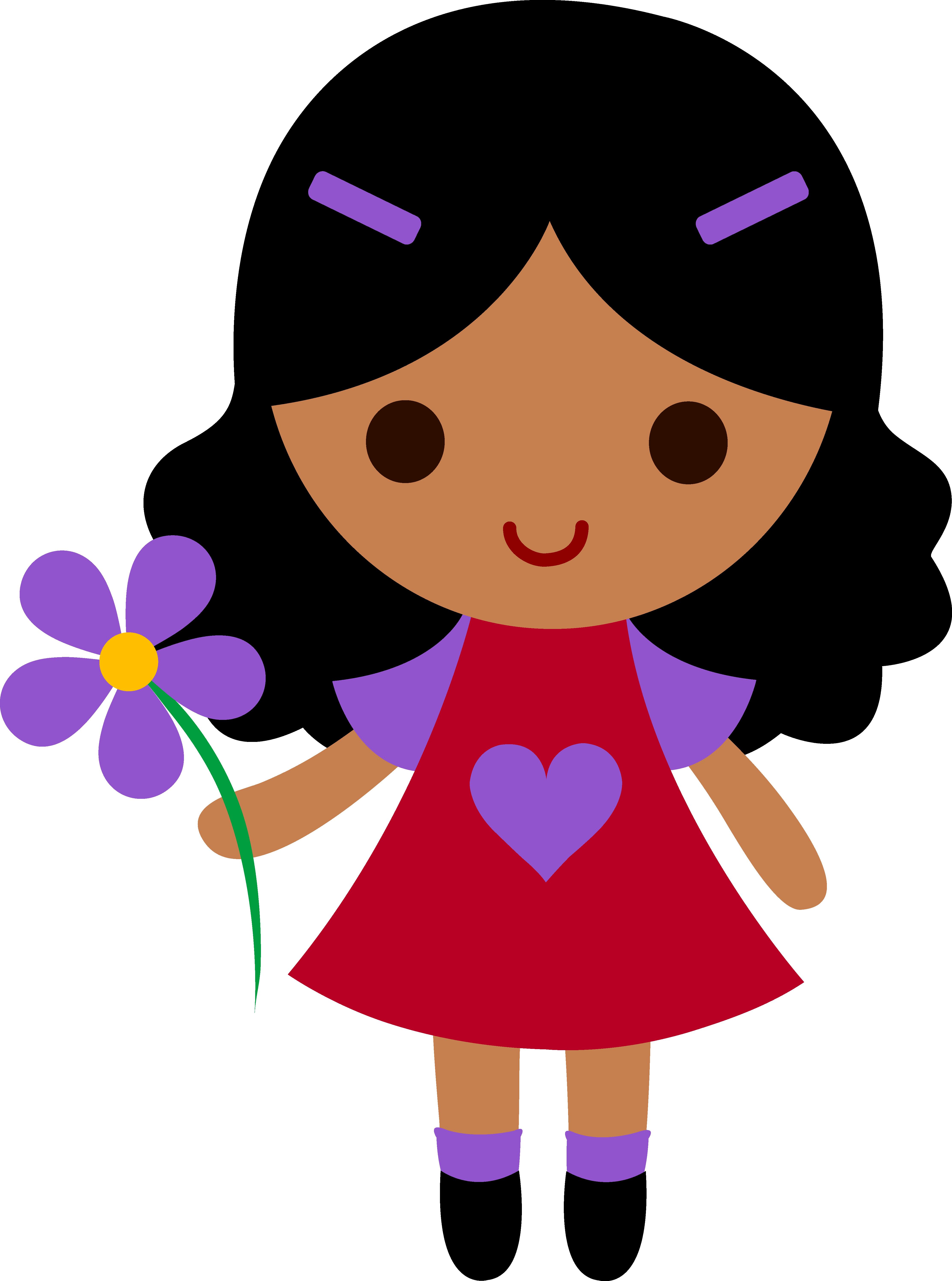 My clip art of a little girl holding a purple flower.