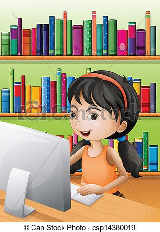 Vector Clip Art of A young girl using the computer at the library.