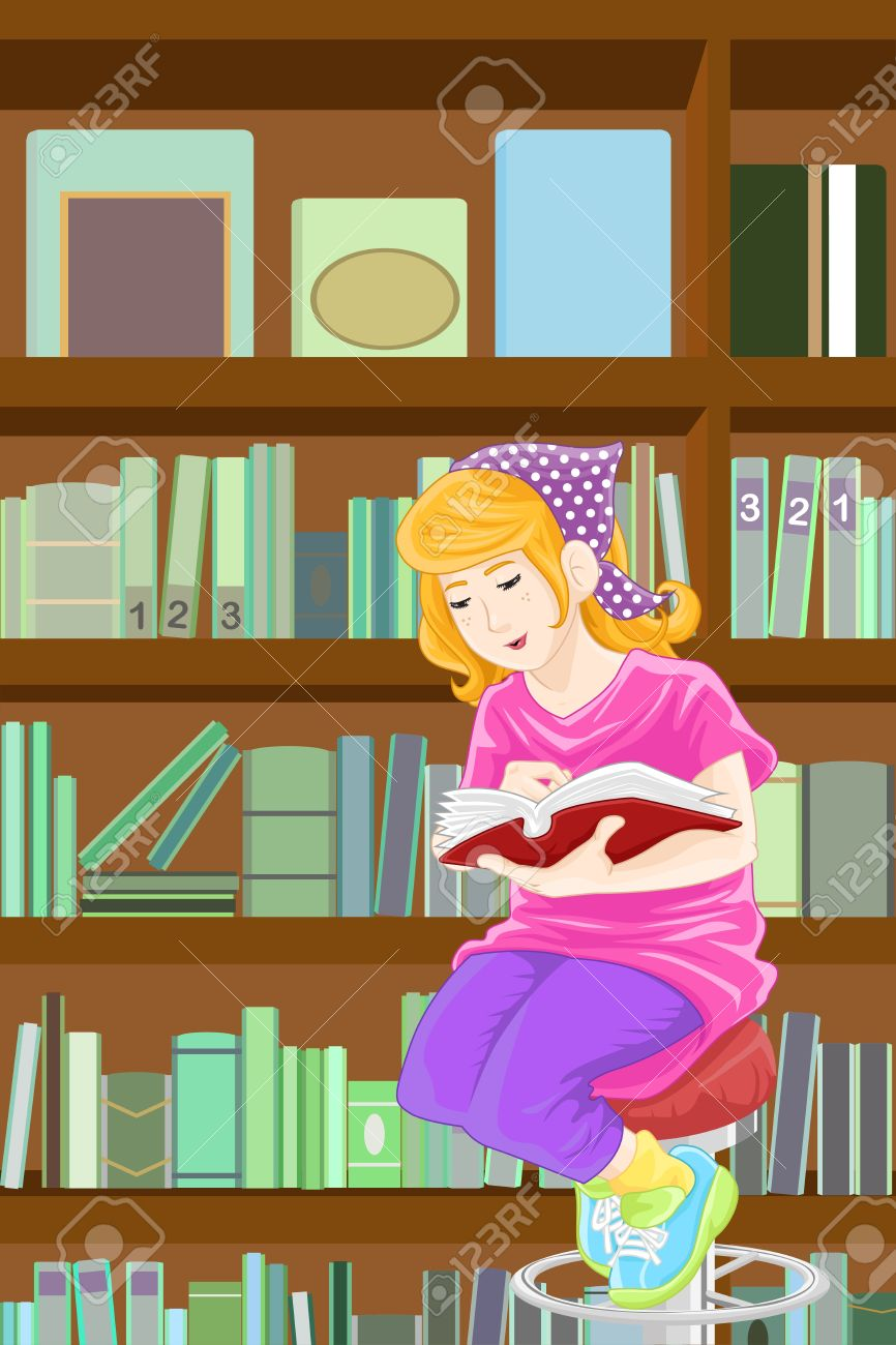 Picture Of Girl In Library Clipart.
