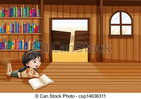 Vector Clip Art of A girl reading a book in the library with a.