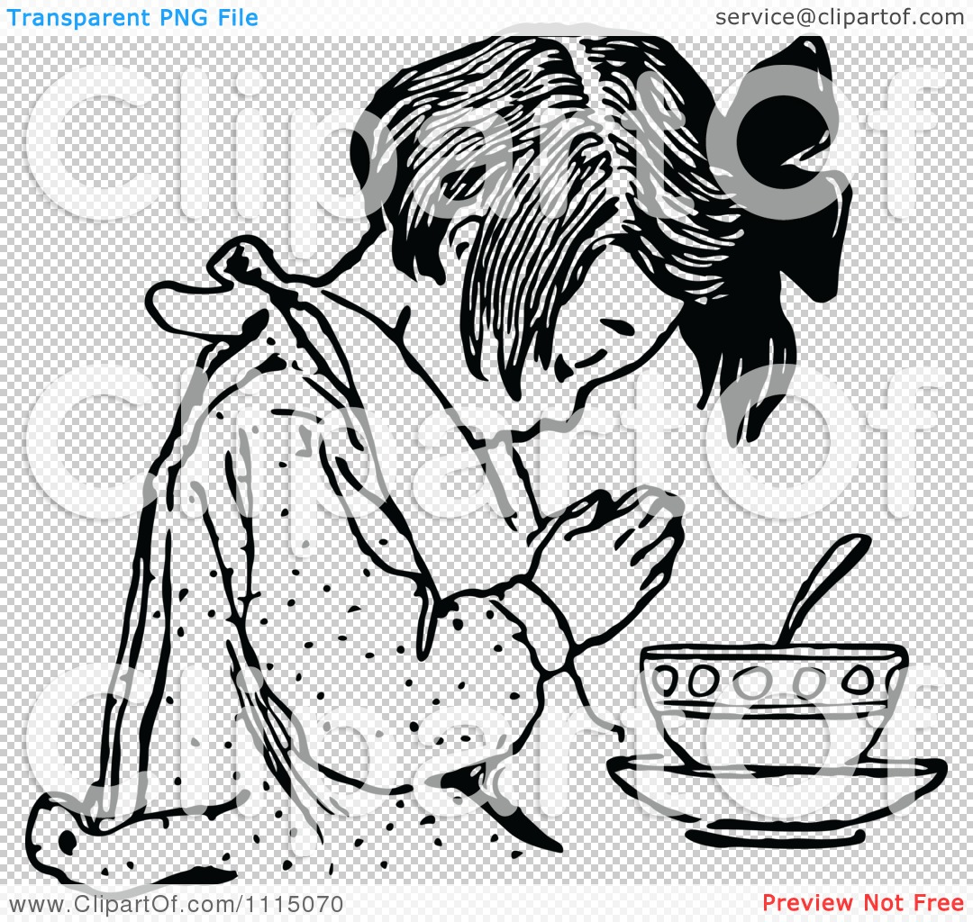 Clipart Vintage Black And White Girl Praying Before Eating 1.