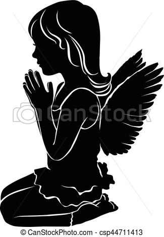 Vector Clip Art of Silhouette cute little girl angel praying.