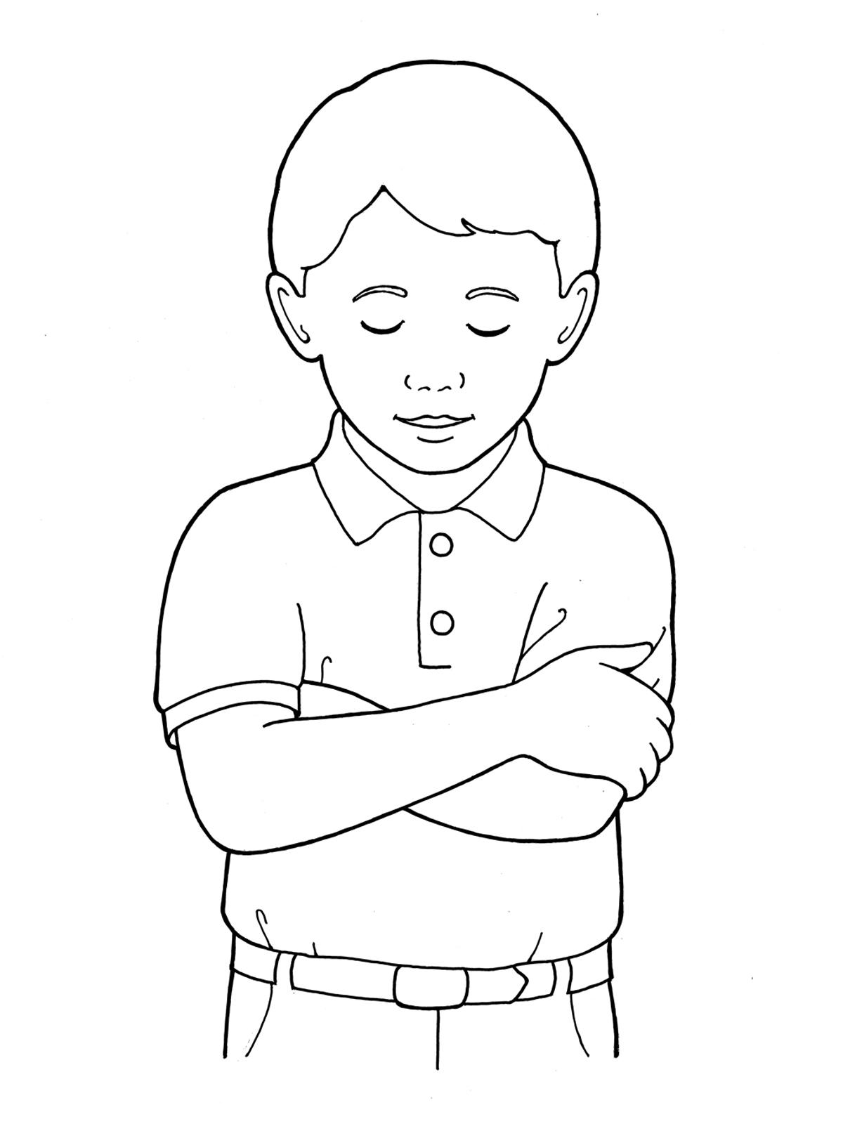 Picture Of Little Girl Praying Black And White Clipart 20 -5720