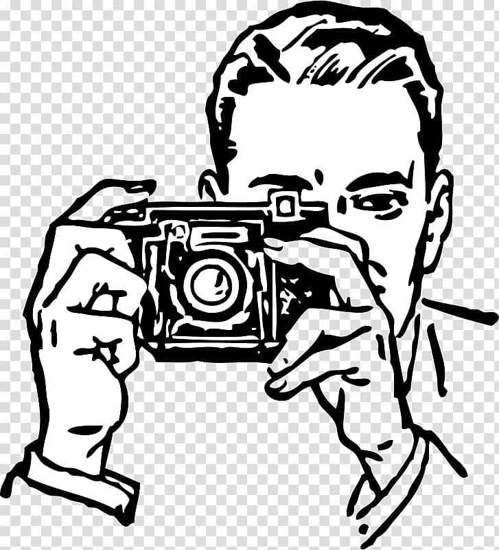 Man taking , graphic film Camera , Kamera transparent.