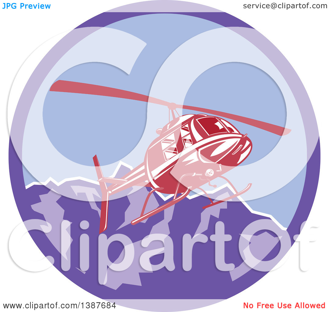Clipart of a Retro Red Helicopter Flying over the Alps Mountains.