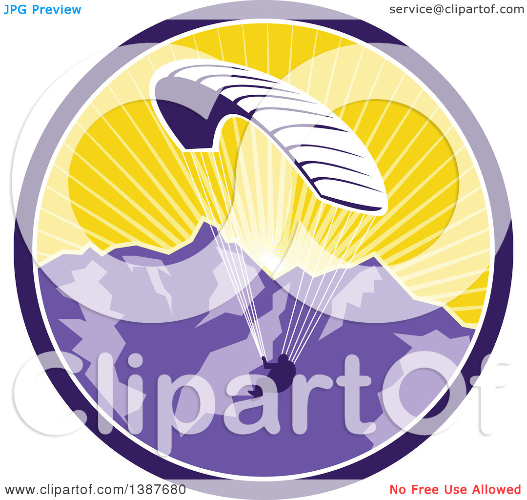 Clipart of a Retro Silhouetted Paraglider Against the Alps.
