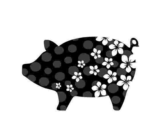 Cliparts Library: Siluette And Clipart And Pig.