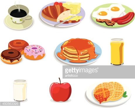 Breakfast food icons Clipart Image.