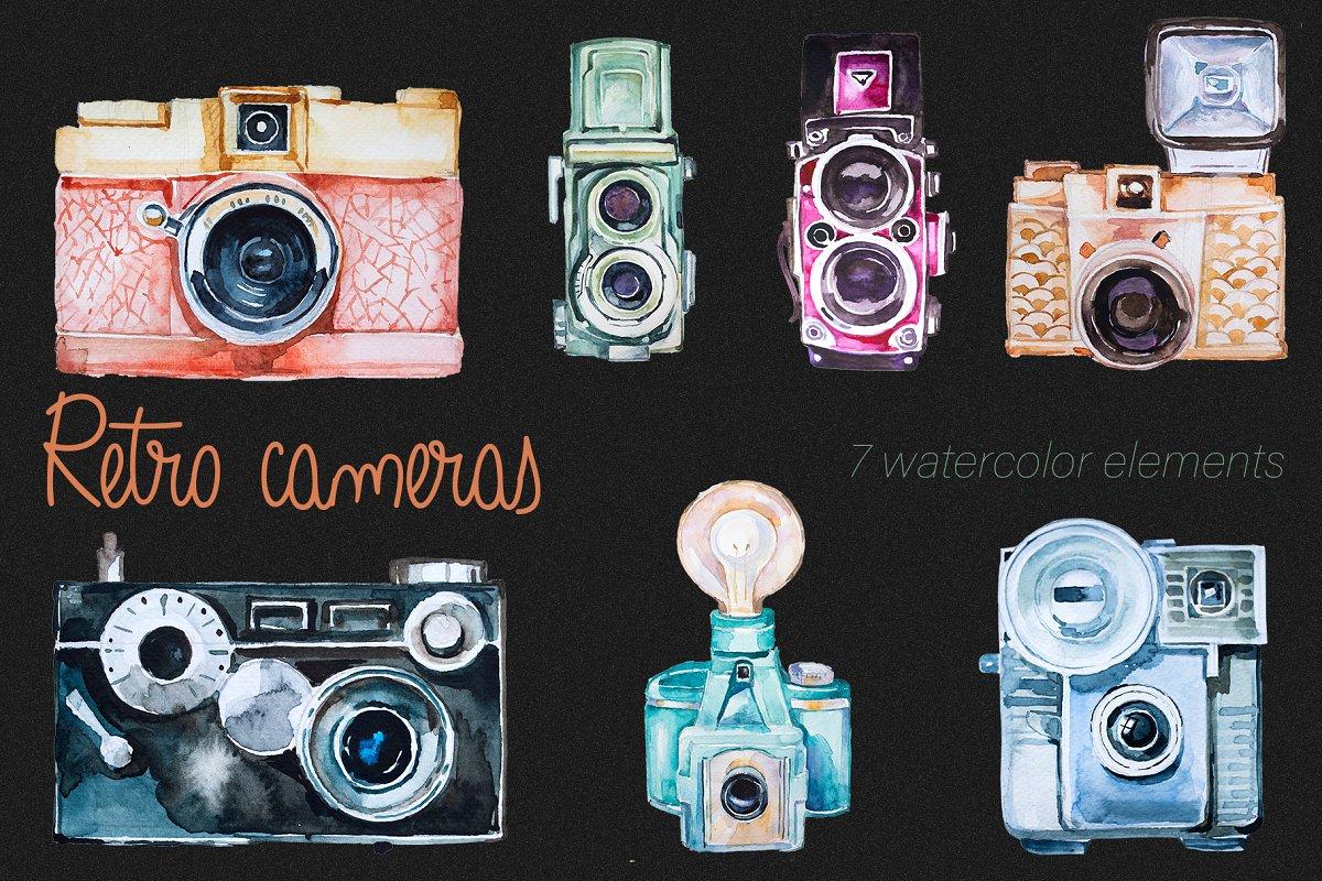 Watercolor Retro Cameras Clipart Set.