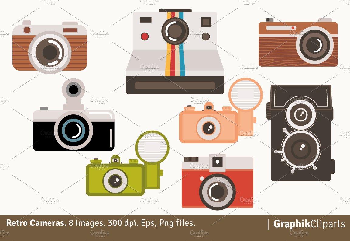 Retro Cameras Clipart.