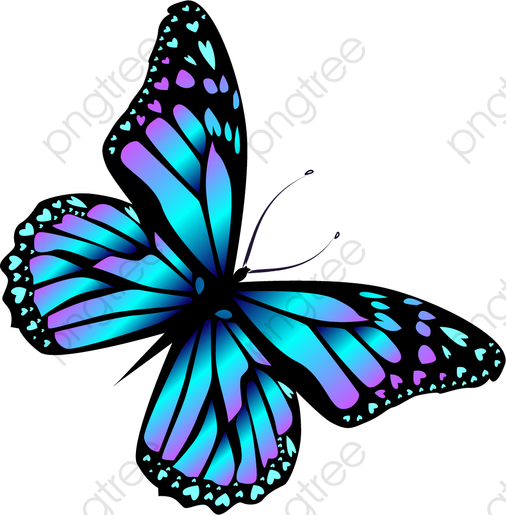 Cartoon Blue Butterfly, Cartoon Clipart, Butterfly Clipart.