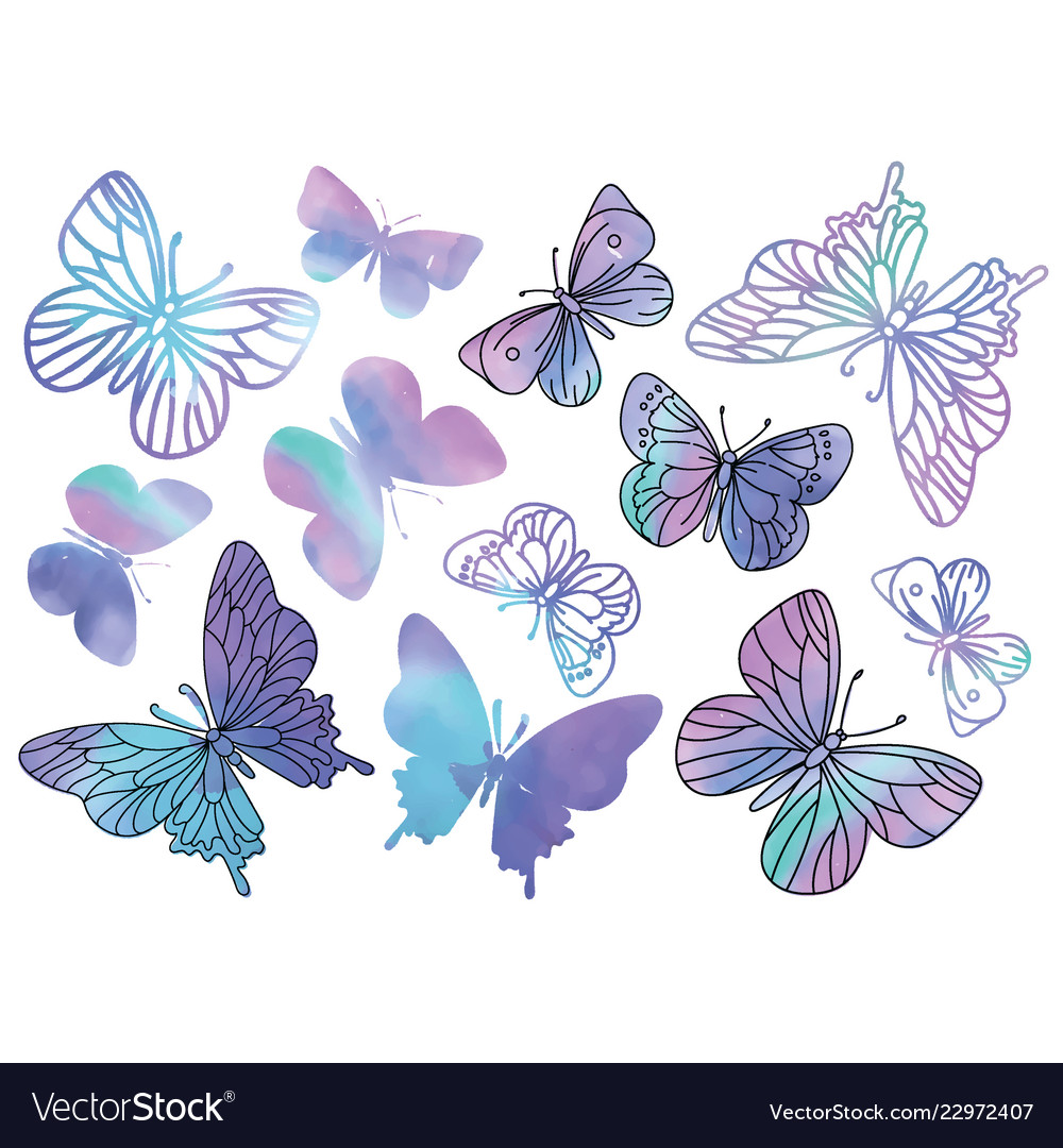 Purple butterflies cartoon clipart color.
