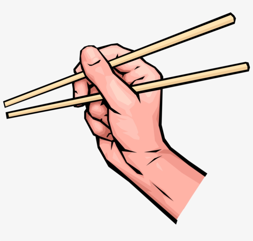 Vector Illustration Of Hands Holding Chinese Chopsticks.