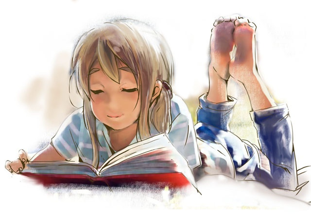 Anime Girl reading.