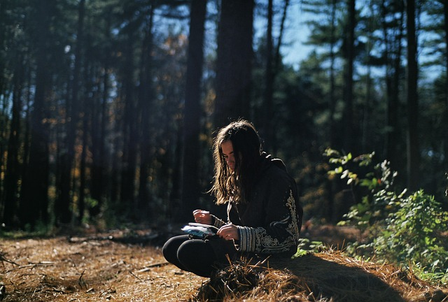 Free photo: Girl, Reading, Forest, Trees.